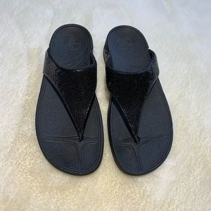 FitFlop Lulu Superglitz Black Wedge Sandals